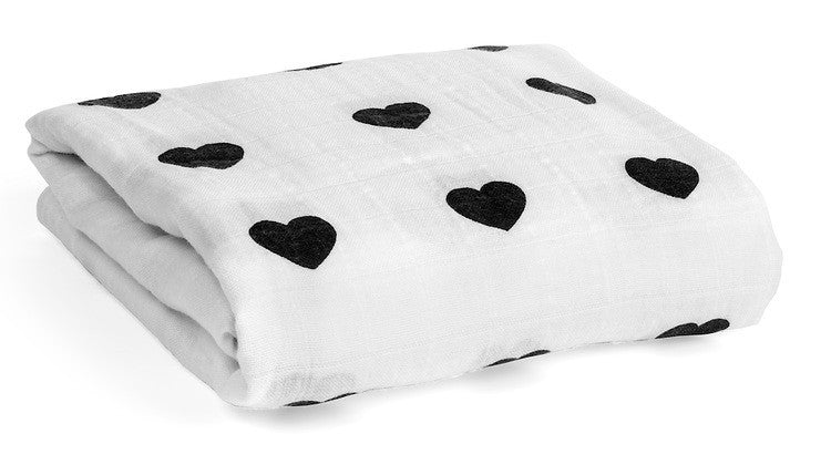 Organic Cotton Muslin Swaddle - Heart