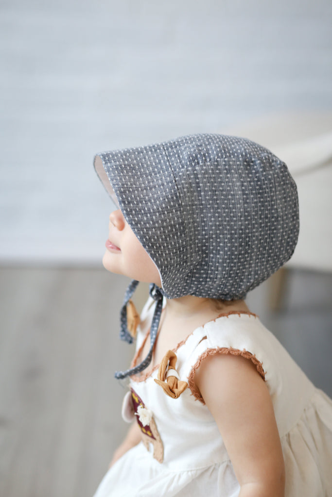 Brimmed Bonnet - Chambray Dot