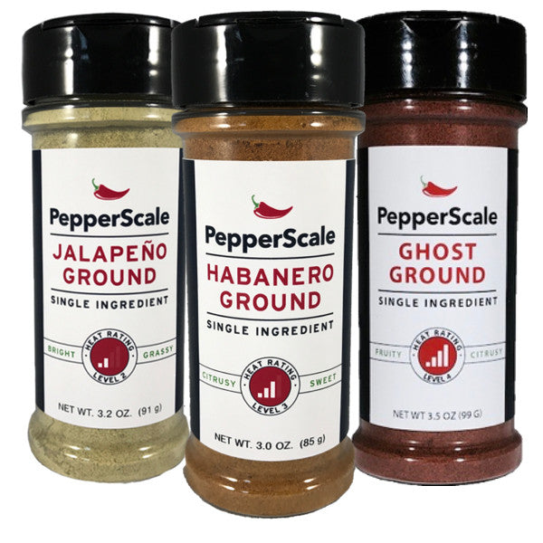 """Up The Scale"" Set II: Jalapeño, Habanero, Ghost Powders"