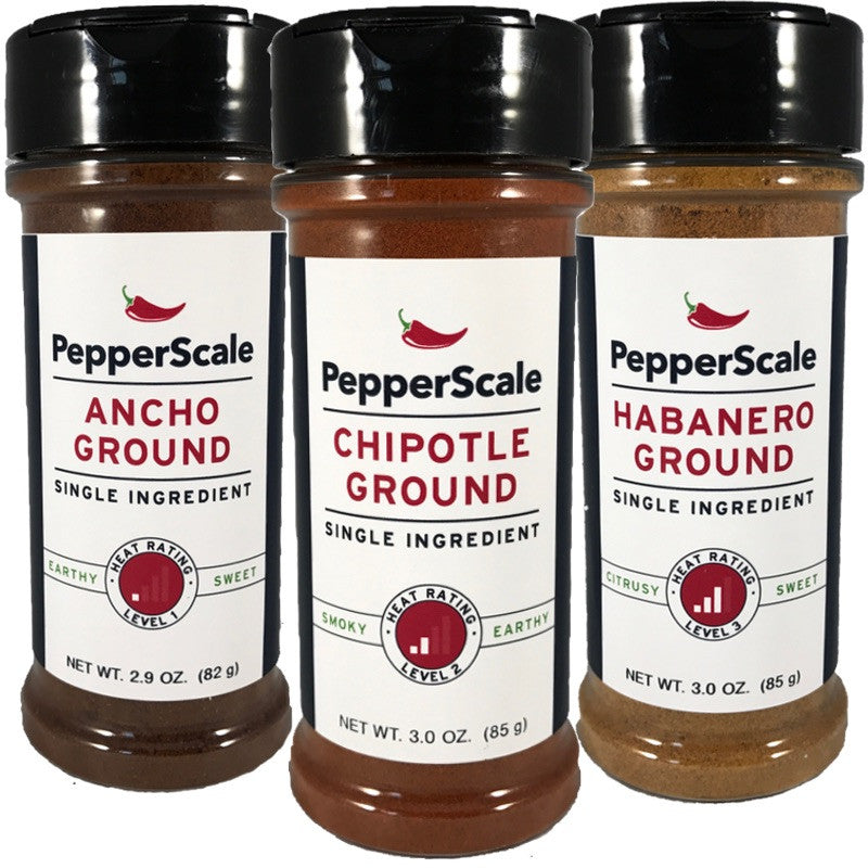 """""""Up The Scale"""" Set I: Ancho, Chipotle, Habanero Powders"""