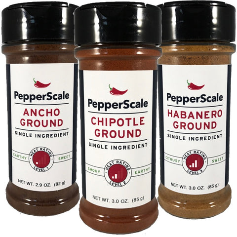 """Up The Scale"" Set I: Ancho, Chipotle, Habanero Powders"