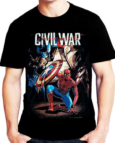 T-Shirt CIVIL WAR SPIDERMAN - Iron Man - Captain America