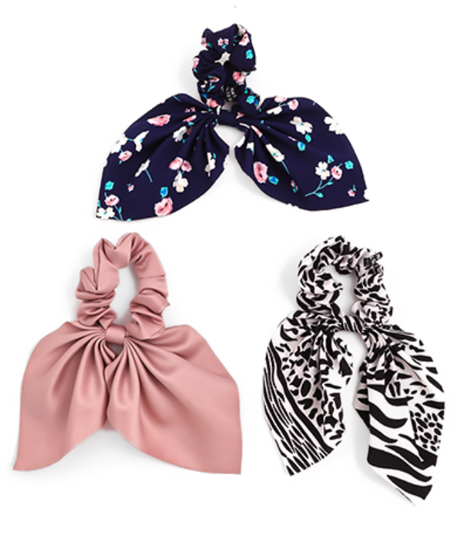 Zebra, Flower and Solid Scrunchie Set