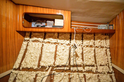 Spray foam insulated sailboat hull