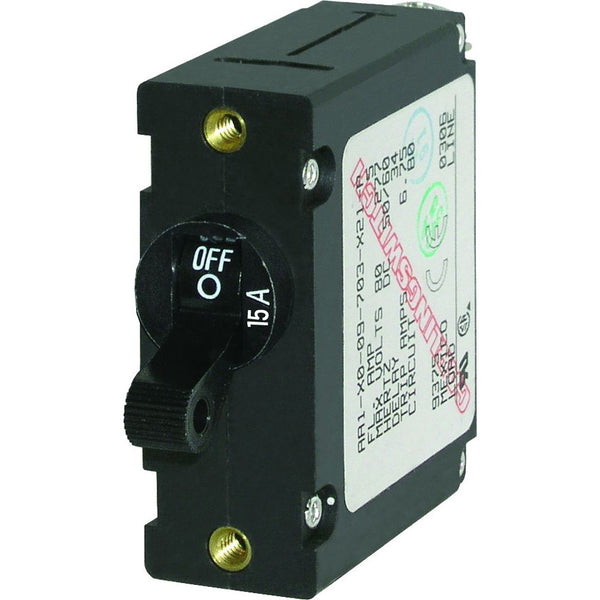 Blue Sea 7208 AC / DC Single Pole Magnetic World Circuit Breaker  -  15 Amp