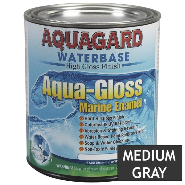 Aquagard Aqua Gloss Waterbased Enamel - 1Qt - Medium Grey