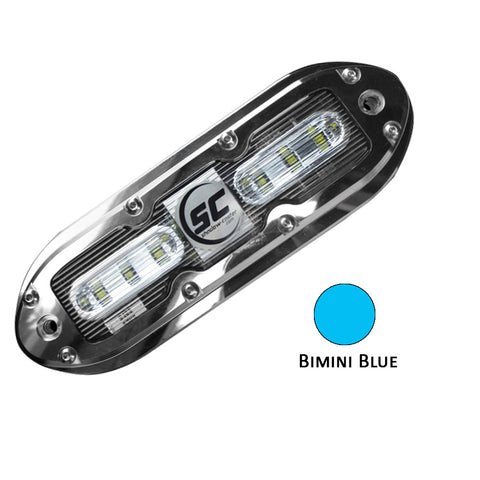 Shadow-Caster SCM-6 LED Underwater Light w/20' Cable - 316 SS Housing - Bimini Blue