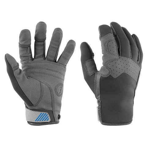 Mustang Traction Full Finger Glove - Gray/Blue - Medium