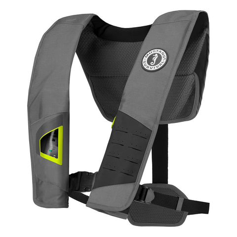 Mustang DLX 38 Deluxe Manual Inflatable PFD - Gray/Fluorescent Yellow