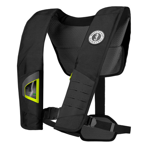 Mustang DLX 38 Deluxe Automatic Inflatable PFD - Black/Fluorescent Yellow-Green