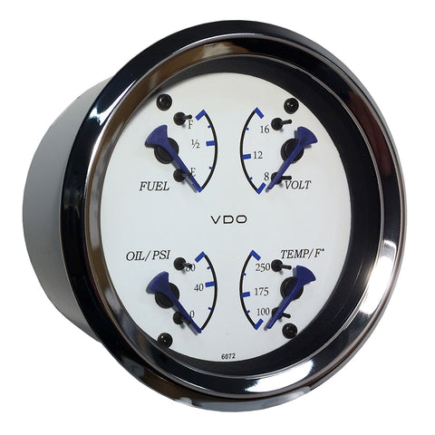 VDO Allentare 4 In 1 Gauge - 85mm - White Dial/Blue Pointer - Oil Pressure, Water Temp, Fuel Level, Voltmeter - Chrome Bezel