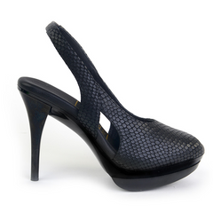 Really Comfortable Black Snake Slingback High Heels
