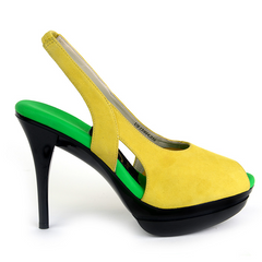 Most Comfortable Yellow Suede Slingback High Heels