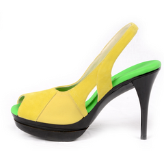 Really Comfortable Yellow Suede Stiletto Slingback High heel
