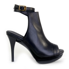 Really Comfortable Black Leather Open Toe High Heel Bootie