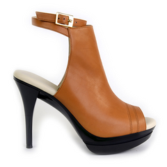 Really Comfortable Open Toe Open Back Caramel High Heel Bootie