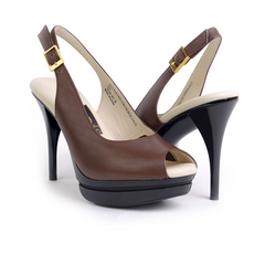 Really Comfortable Brown Leather Stiletto Slingback High Heels