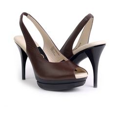 Most Comfortable Brown Leather Stiletto Slingback High heels