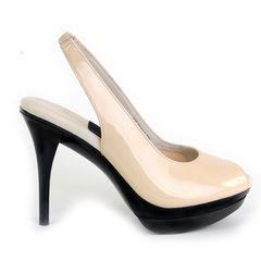 Really Comfortable Nude Patent Leather High Heel Slingbacks