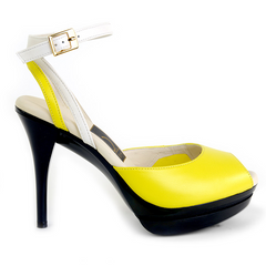 Really Comfortable Yellow Leather Ankle Strap High Heels