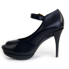 Really Comfortable Black Leather Open Toe Maryjane Pump
