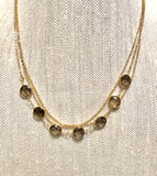 Bezel Set Smoky Quartz Triple Chain
