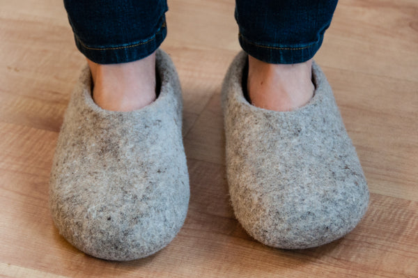 Women's Grey Wool Slippers