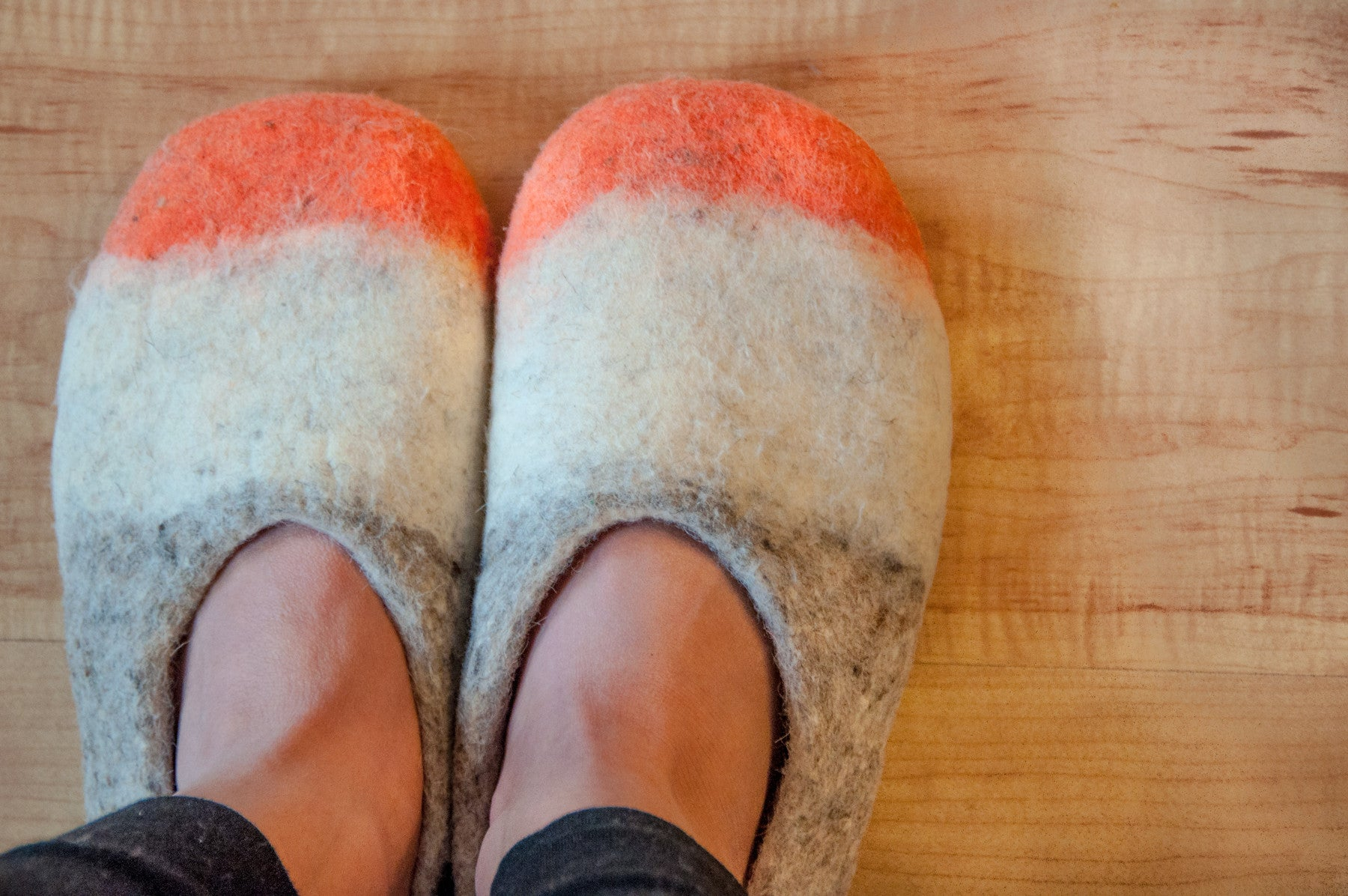 Women's Tri-colored Wool Slippers