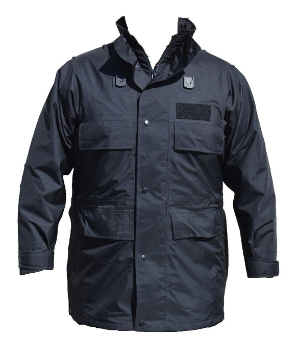 Polyester 3/4 Length Black Waterproof Rain Coat Security BPC01AN