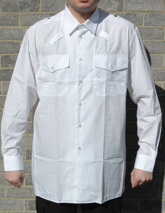 New Harrison Field Men's Long Sleeve White Uniform Shirt Pilot Security Prison