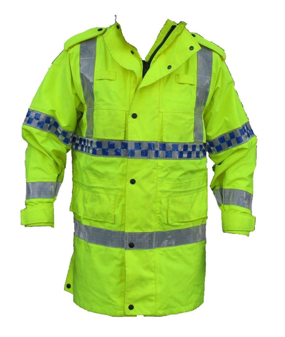 Hi Vis 3/4 Goretex Waterproof Rain Coat/Security Marshal HVGC01A