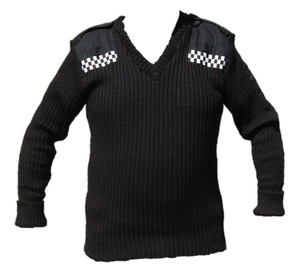 Ex Police Black Jumper Pullover 100% Pure New Wool With Checker Security Doorman