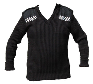 New Black Jumper Pullover 100% Pure New Wool With Checker Security Doorman
