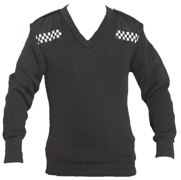 Black Nato Jumper Pullover 100% Acrylic with Checker Security