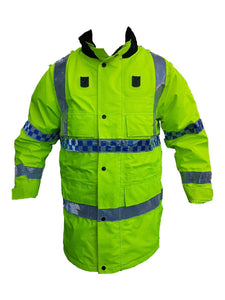 Hi Vis Jacket Waterproof Rain Coat Security Dog Handler HVPC02B