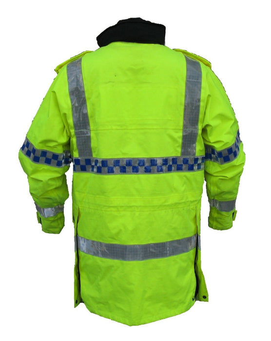 Ex Police Hi-Vis 3/4 Goretex Waterproof Rain Coat Security Marshal HVGC01B