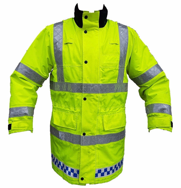 Ex Police Hi-Vis 3/4 Goretex Waterproof Rain Coat Security Marshal HVGC02B