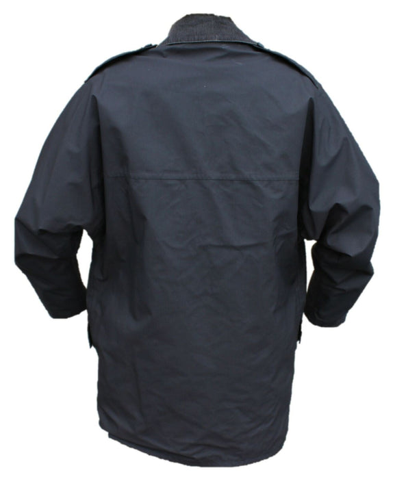 Ex Police 3/4 Length Black Waterproof Rain Coat With Collar Security BPC02AN