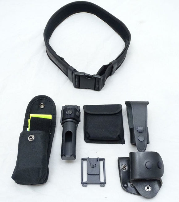 Ex Police Genuine Black Nylon Duty Belt Kit With 6 Pouches Sizes S - XXL Grade A