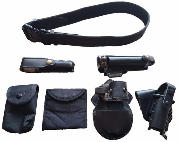 Genuine British Black Nylon Duty Belt Kit With 6 Pouches Sizes S - XXL