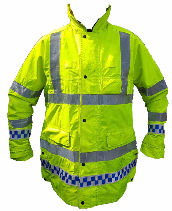 Ex Police Hi Viz Waterproof Jacket Long Coat Security Events Traffic HVPC01B