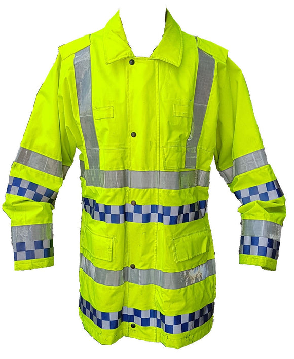 Hi Viz Long Waterproof Jacket Traffic Coat Double Checker Security