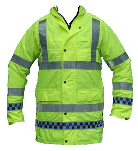 Ex Police Hi Viz Waterproof Jacket Long Coat Security Traffic Events HVPC01A