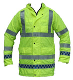Hi Viz Waterproof Jacket Long Coat Security Events Traffic HVPC01AN