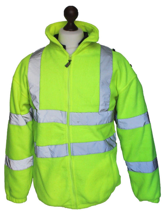 Hi Vis RTY Fleece Jacket With Reflective Tape Security Dog Handler Grade A
