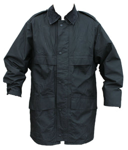 Ex Police 3/4 Length Black Waterproof Rain Coat With Collar Security BPC02B