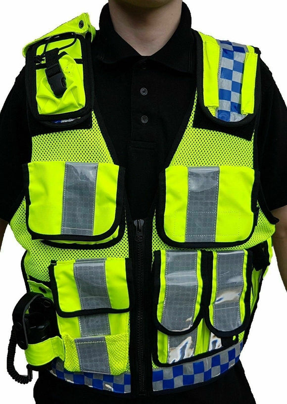Ex Police Hi Viz Tactical Load System Tac Vest Security Dog Handler Marshal HV02