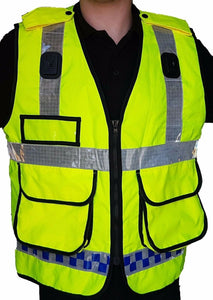 Hi Viz Vis Vest With Badge Holders Pockets Security Marshal HV04A
