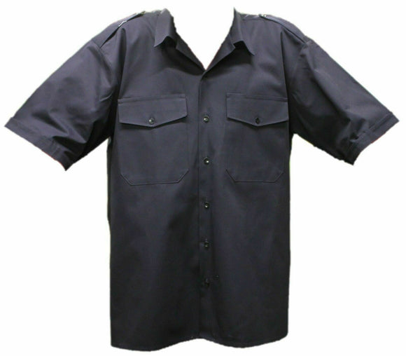 New Dark Blue Short Sleeve Genuine Fire Service Shirt With Epaulets For Fireman