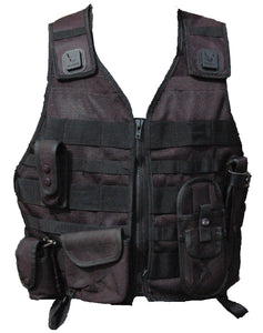 Black Molle Tactical Vest With 5 Pouches Airsoft Combat Security 5s